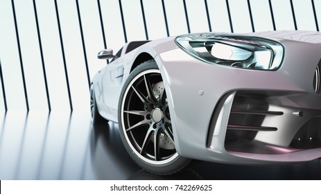 Modern cars are in the studio room. 3d illustration