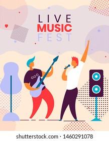 Modern cartoon flat characters musical band guitarist,singer on music fest,concert,open air,hand drawn flyer banner concept.Musicians with guitar,microphone playing music,jazz,rock,blues,rockabilly