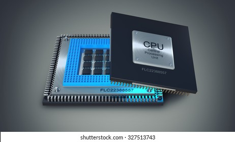 Modern central computer processors CPU on gray background. High resolution 3d render