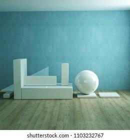 modern ceramic sculpture 3d illustration