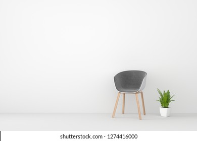 modern chair  in  living room. Minimal style concept. pastel color style. 3D render