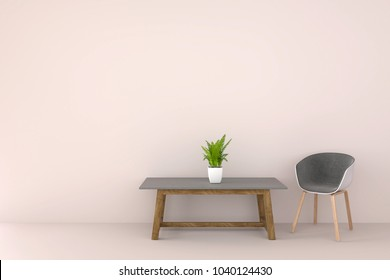 Modern chair in a pastel color living room. Minimal style concept. pastel color style. 3D render.