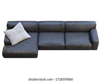 Modern chaise lounge sofa. Black leather sofa with gray fabric pillow on white background. Mid-century, Modern, Loft, Chalet, Scandinavian interior. 3d render