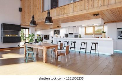 modern chalet interior. 3d design rendering concept