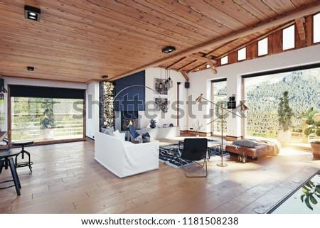 Modern chalet interior 3 d rendering design stock illustration