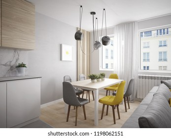 Modern and cheerful dining room in beautiful apartment - 3 d render