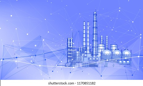 modern chemical manufacturing plant on a blue technological background with a stylized digital wave - the concept of modern technology, the new industrial revolution & information technology