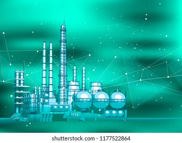 modern chemical manufacturing plant on a green technological background with a stylized digital wave - the concept of modern technology, the new industrial revolution & information technology