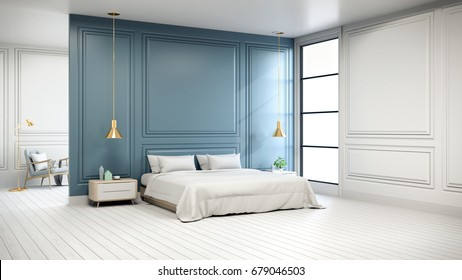 Modern chic  interior of Bedroom ,white bed with gold lamp on white flooring and blue wall  ,3d rendering