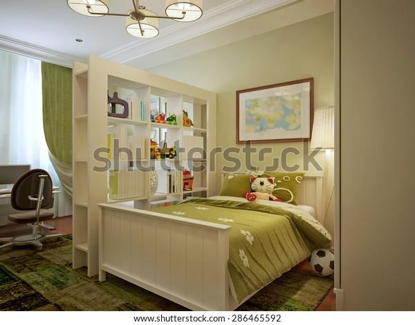Modern Childrens Room Boy Green Yellow Stock Illustration 286465592