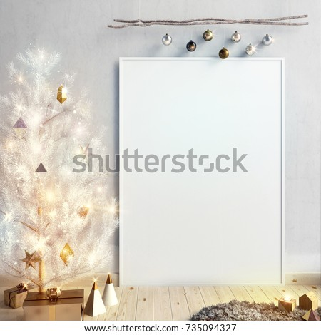 modern christmas interior of scandinavian style with shining lights christmas tree 3d illustration poster