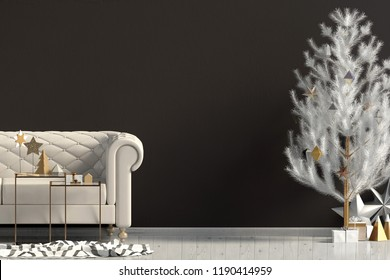 Modern Christmas interior with sofa, Scandinavian style. Wall mock up. 3D illustration