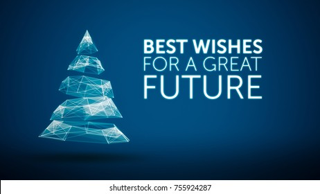 modern christmas tree and wishes great future season greetings message on blue background. Elegant holiday season social digital card for technology,futuristic business