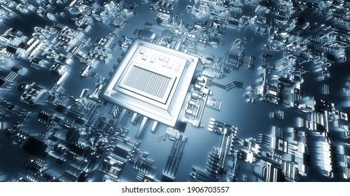 Modern circuit board. Technology hardware background. 3D illustration
