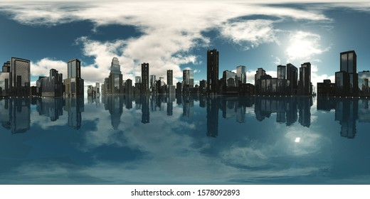 A modern city above the water. Environment map. HDRI . equidistant projection. Spherical panorama. landscape. 3d rendering