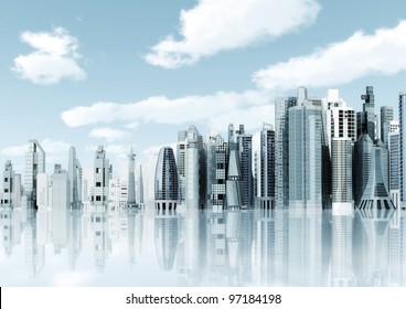 Modern city background. Illustrated with modern architectural commercial and office building with blue sky and futuristic design environment.