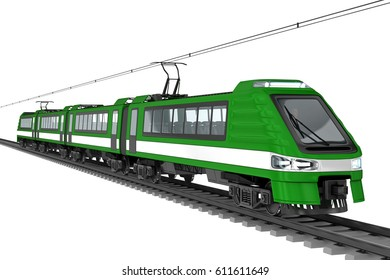 Modern city electric train. 3d image, isolated on white.