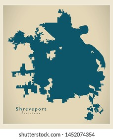 Modern City Map - Shreveport Louisiana city of the USA