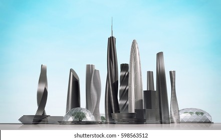 Modern city with skyscrapers. 3d rendering image.