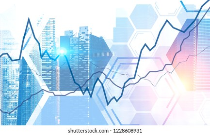 Modern cityscape with double exposure of graph. Concept of stock market and trading. 3d rendering toned image