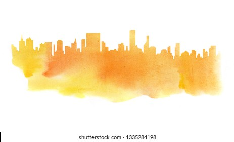 Modern cityscape yellow water color drawing. Metropolis architecture panoramic landscape. New York skyscrapers hand drawn orange watercolor silhouette. Apartment buildings double exposure illustration