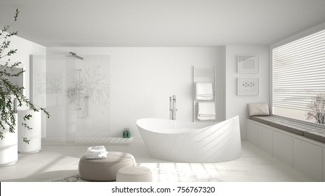 Modern classic bathroom with big round carpet, large panoramic window, minimalistic white and gray interior design, 3d illustration