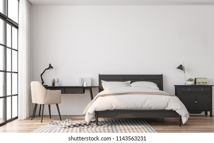 Modern classic bedroom 3d render.The rooms have wooden floors and white walls.Furnished with black wood furniture. There are large window overlooking to outside.
