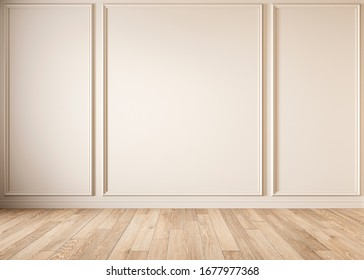 Modern classic beige empty interior with moldings and wooden floor. 3d render illustration mock up.