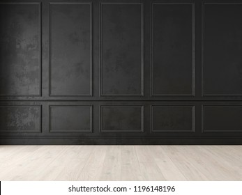 Modern classic black empty interior with wall panels and wooden floor. 3d render illustration mock up.