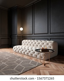 Modern classic black interior with capitone chester sofa,  floor lamp, coffee table, carpet, wood floor, mouldings. 3d render interior mock up.