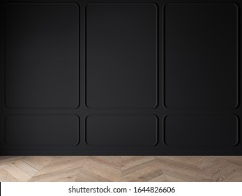Modern classic black matte, baroque, blank wall, molding, empty interior with wall panels and wooden floor. 3d render illustration mock up.