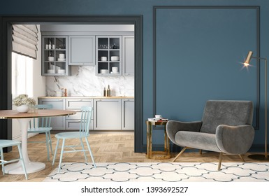 Modern classic blue gray interior with lounge chair, armchair, kitchen, dining table, carpet, floor lamp and mouldings. 3d render illustration mock up.