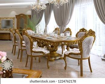 Modern classic dining table in a luxurious baroque living room with serving. 3D rendering.