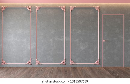 Modern classic gray interior with stucco, pink moldings, architecture beton, concrete, door, wooden floor, ceiling backlit. Empty room, blank wall. 3d render illustration mock up.