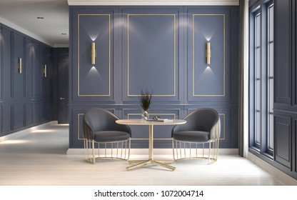Modern classic interior with armchairs and coffee table, decorative blue wall with gold frame, 3D rendering, 3D illustration