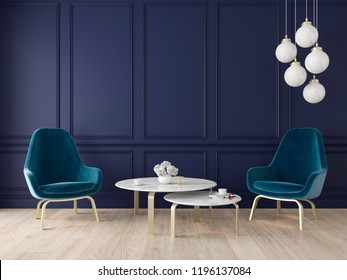 Modern classic interior with armchairs, lamp, table, wall panels and wooden floor. 3d render illustration mock up.