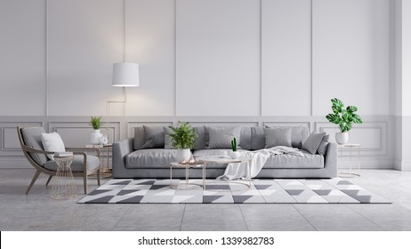 Modern classic interior of living room, gray sofa and marble table on white wall panels and concrete wall,3d rendering