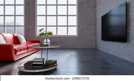 Modern classic interior of living room, Red sofa in the large living room, Home theater, 3d rendering