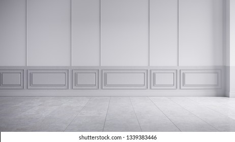 Modern classic interior of living room,empty room, white wall panels and concrete wall,3d rendering