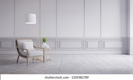 Modern classic interior of living room,white armchair on grey wall panels and concrete wall,3d rendering