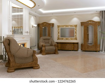A modern classic living room in an art deco style with a dining table and views of the kitchen and the foyer. 3D rendering.
