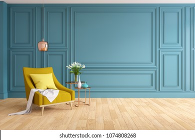 Modern and classic living room interior design, Spring Summer house concept , yellow armchair with woodfloor and blue wall,3d rendering