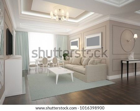 Modern Classic Living Room. Interior Design. 3d Render