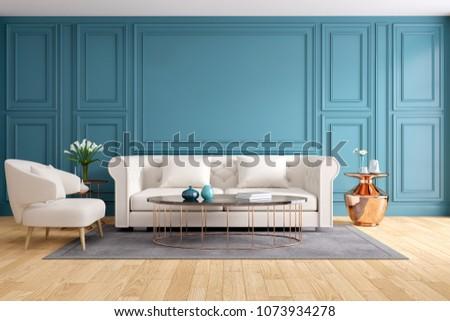 Modern Classic Living Room Interior Design Stock Illustration