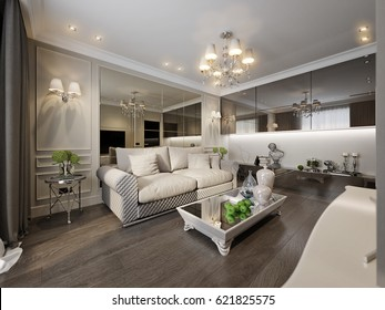 Modern Classic New Traditional Living room Interior Design with Gray Brown Glossy Chrome Furniture TV Area Beige Walls Decorated with Moldings Large Beige Sofa Large Bronze Mirror on Wall. 3d render