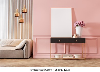 Modern classic pink interior with dresser, console, sofa, furniture, lamp, flower, gifts, frame, picture. 3d render illustration mock up.