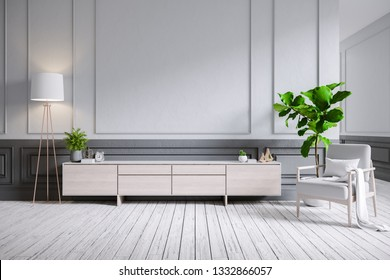 Modern classic style in interior design ,Wood Tv cabinet and armchair on gray wall with wood flooring , 3d render