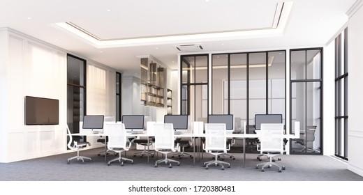 グレイカーペットの床とホワイトデスクの3Dレンダリングを備えた、現代的なクラシックスタイルのオフィス作業エリア