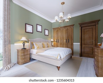 Modern Classic Traditional Bedroom Interior Design with olive walls, Elegant furniture and bed linen. 3d rendering
