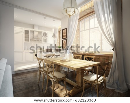 Modern Classic Traditional Dining Room And White Kitchen In Old Vintage  Apartment With Brick Walls.